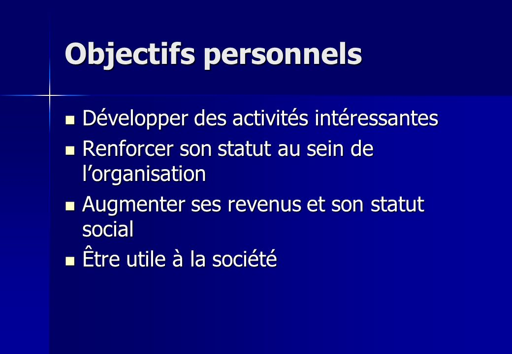 Objectifs personnels Développer des activités intéressantes Développer des activités intéressantes Renforcer son statut au sein de lorganisation Renfo