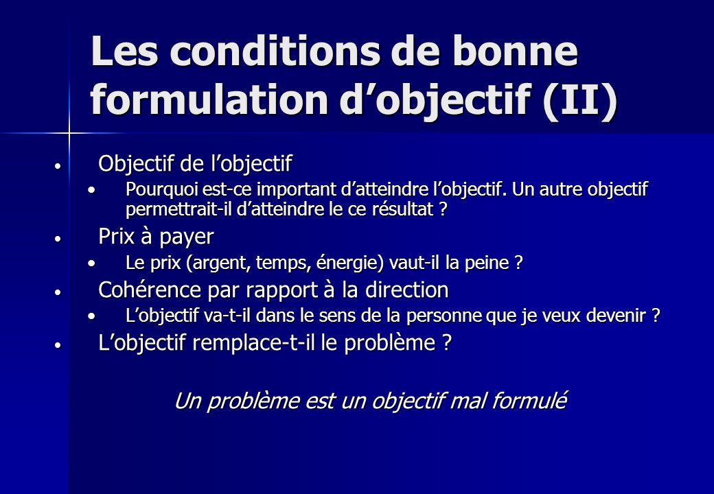Les conditions de bonne formulation dobjectif (II) Objectif de lobjectif Objectif de lobjectif Pourquoi est-ce important datteindre lobjectif. Un autr