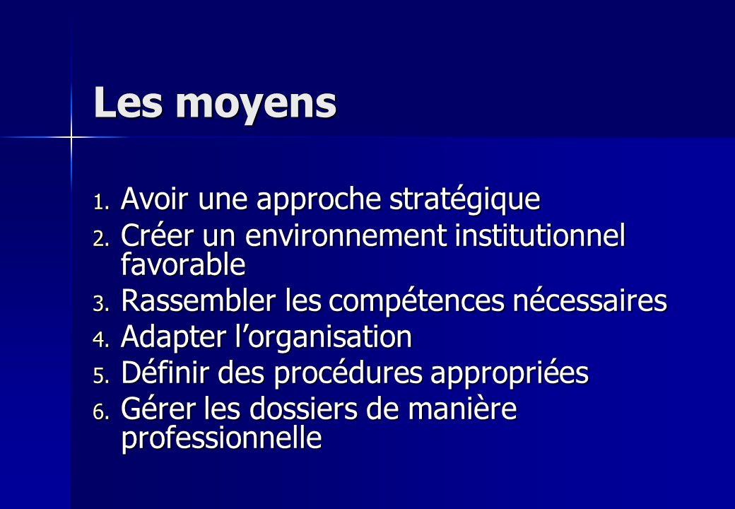 Les moyens 1. Avoir une approche stratégique 2. Créer un environnement institutionnel favorable 3. Rassembler les compétences nécessaires 4. Adapter l