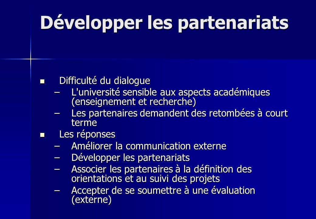Développer les partenariats Difficulté du dialogue Difficulté du dialogue –L'université sensible aux aspects académiques (enseignement et recherche) –