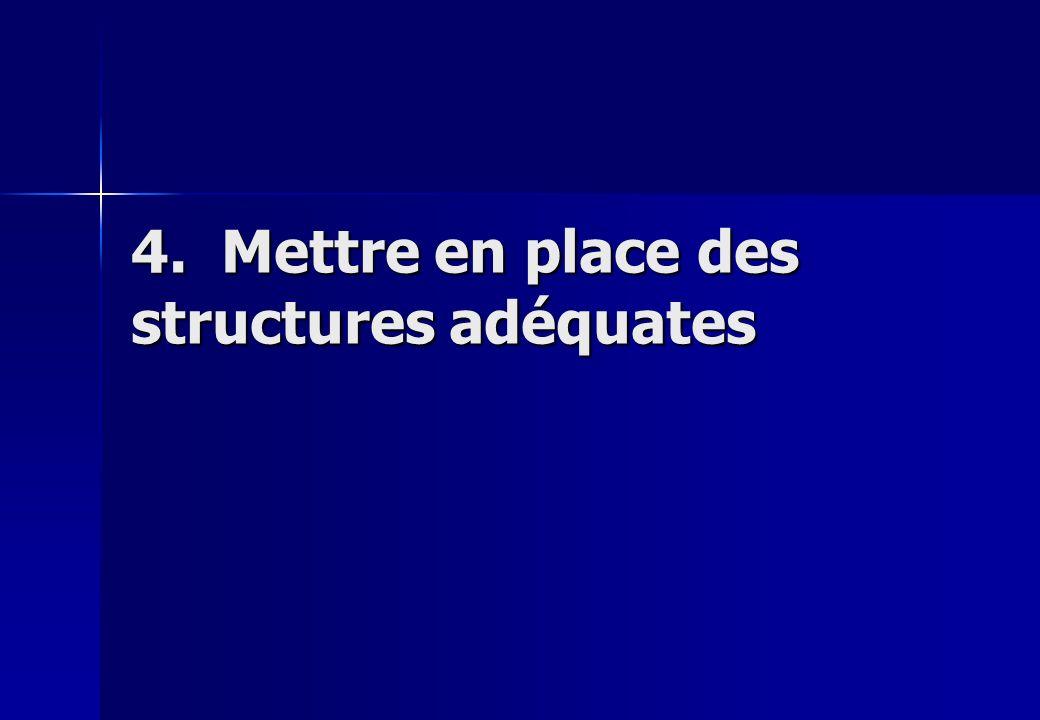 4. Mettre en place des structures adéquates