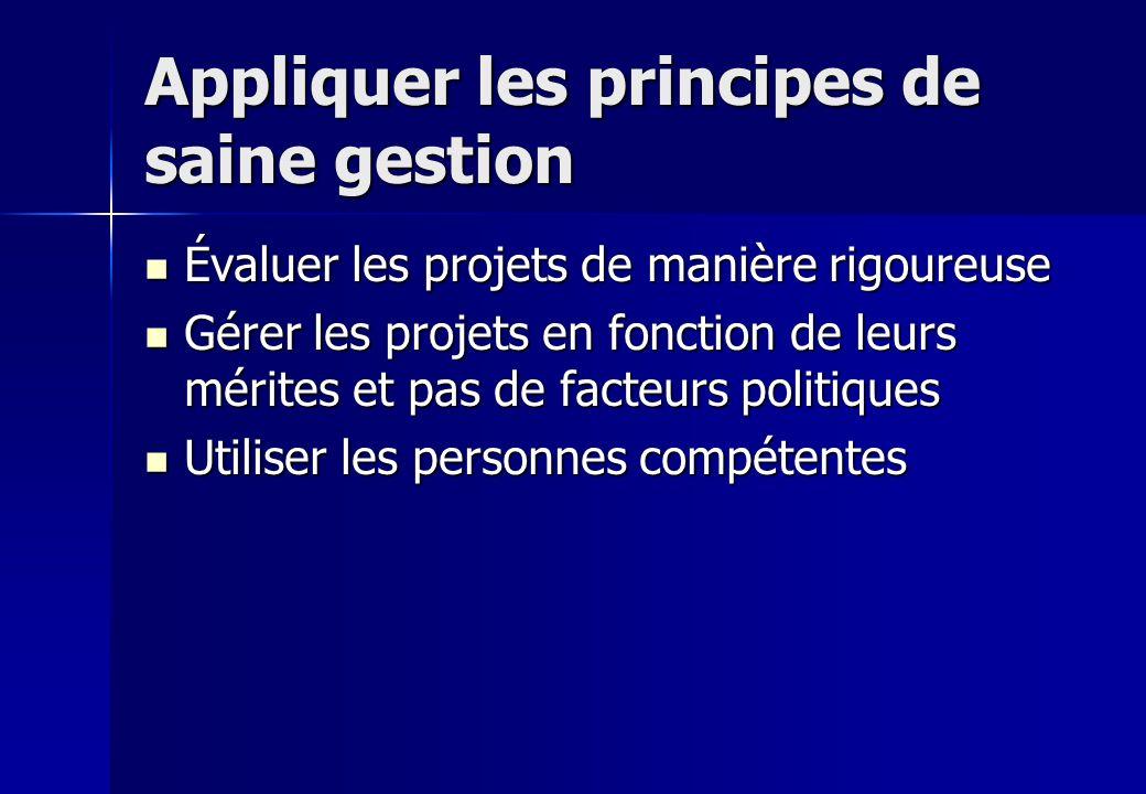Appliquer les principes de saine gestion Évaluer les projets de manière rigoureuse Évaluer les projets de manière rigoureuse Gérer les projets en fonc