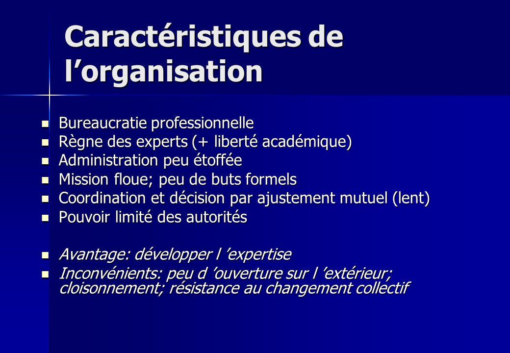 Caractéristiques de lorganisation Bureaucratie professionnelle Bureaucratie professionnelle Règne des experts (+ liberté académique) Règne des experts