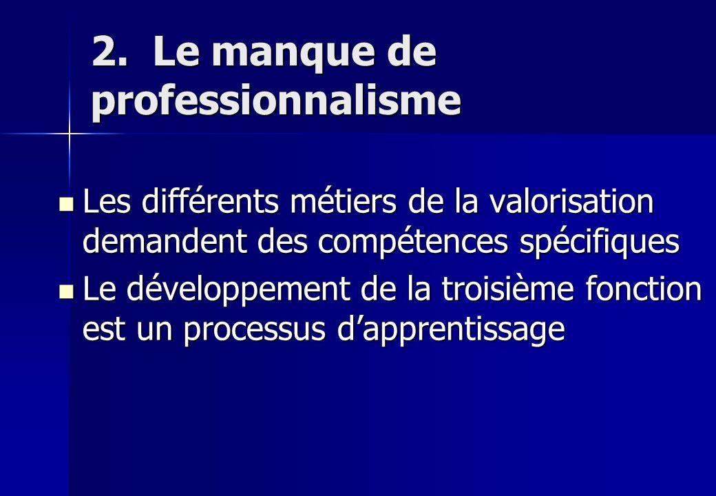 2. Le manque de professionnalisme Les différents métiers de la valorisation demandent des compétences spécifiques Les différents métiers de la valoris