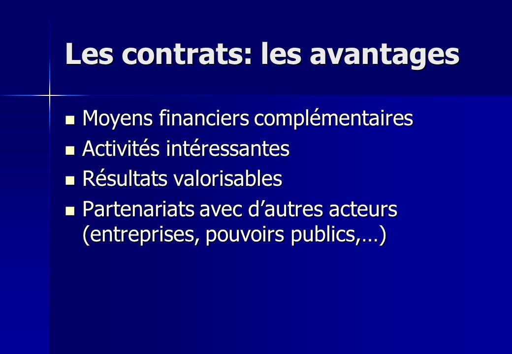 Les contrats: les avantages Moyens financiers complémentaires Moyens financiers complémentaires Activités intéressantes Activités intéressantes Résult