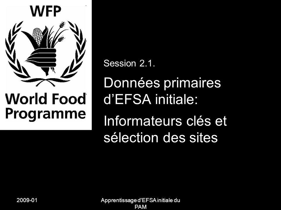 2009-01Apprentissage d'EFSA initiale du PAM Session 2.1. Données primaires dEFSA initiale: Informateurs clés et sélection des sites