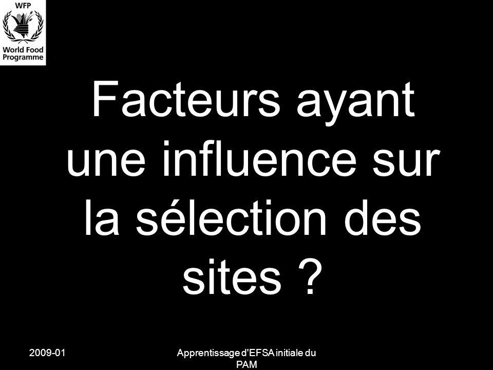 2009-01Apprentissage d'EFSA initiale du PAM Facteurs ayant une influence sur la sélection des sites ?