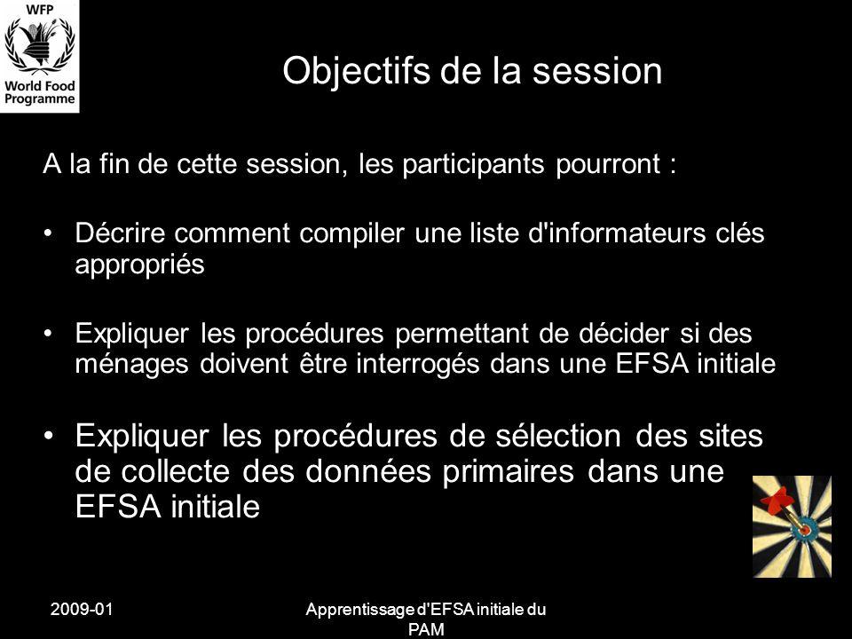 2009-01Apprentissage d'EFSA initiale du PAM Objectifs de la session A la fin de cette session, les participants pourront : Décrire comment compiler un