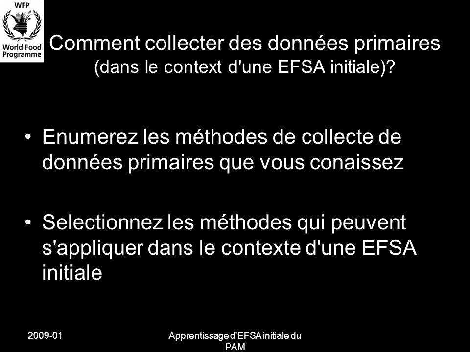 2009-01Apprentissage d'EFSA initiale du PAM Comment collecter des données primaires (dans le context d'une EFSA initiale)? Enumerez les méthodes de co