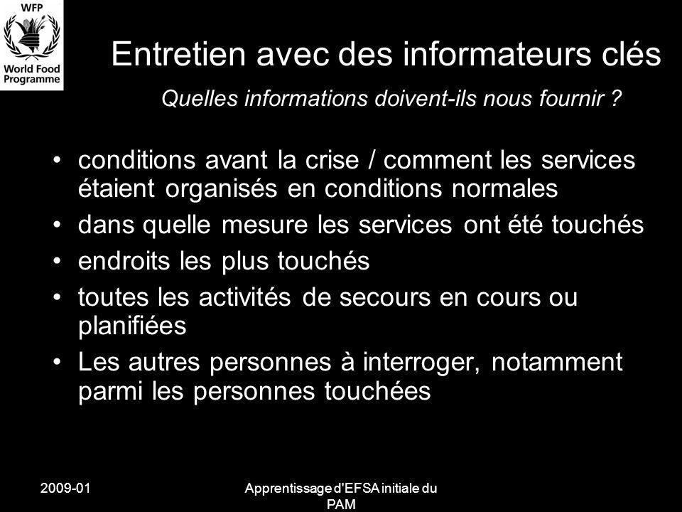 2009-01Apprentissage d'EFSA initiale du PAM conditions avant la crise / comment les services étaient organisés en conditions normales dans quelle mesu