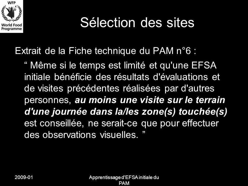 2009-01Apprentissage d EFSA initiale du PAM Sélection des sites Extrait de la Fiche technique du PAM n°6 : Même si le temps est limité et qu une EFSA initiale bénéficie des résultats d évaluations et de visites précédentes réalisées par d autres personnes, au moins une visite sur le terrain d une journée dans la/les zone(s) touchée(s) est conseillée, ne serait-ce que pour effectuer des observations visuelles.