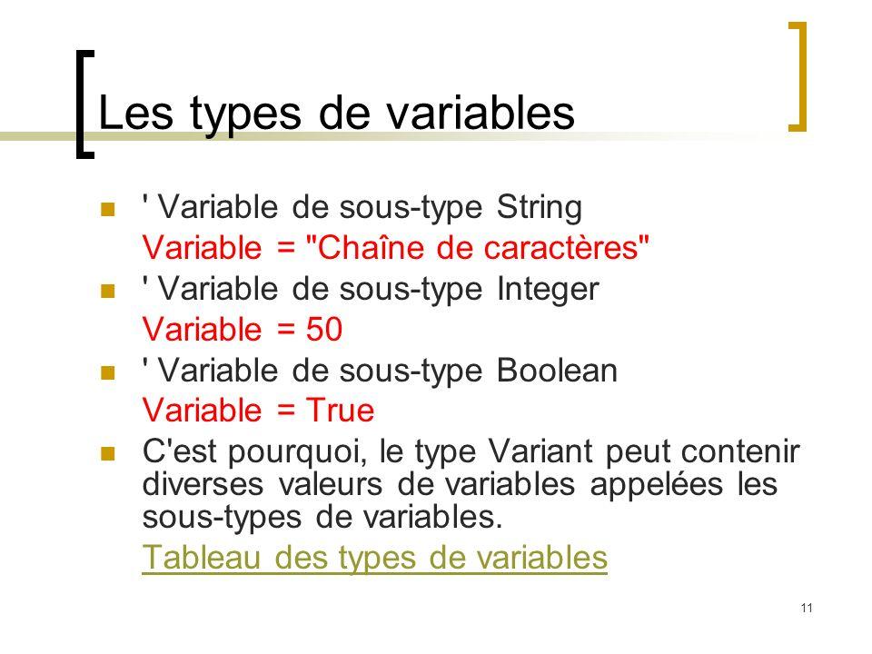 11 Les types de variables Variable de sous-type String Variable = Chaîne de caractères Variable de sous-type Integer Variable = 50 Variable de sous-type Boolean Variable = True C est pourquoi, le type Variant peut contenir diverses valeurs de variables appelées les sous-types de variables.