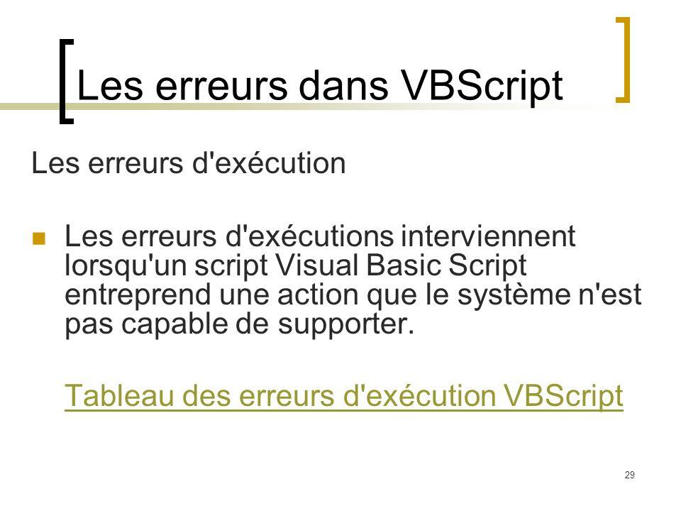29 Les erreurs dans VBScript Les erreurs d exécution Les erreurs d exécutions interviennent lorsqu un script Visual Basic Script entreprend une action que le système n est pas capable de supporter.