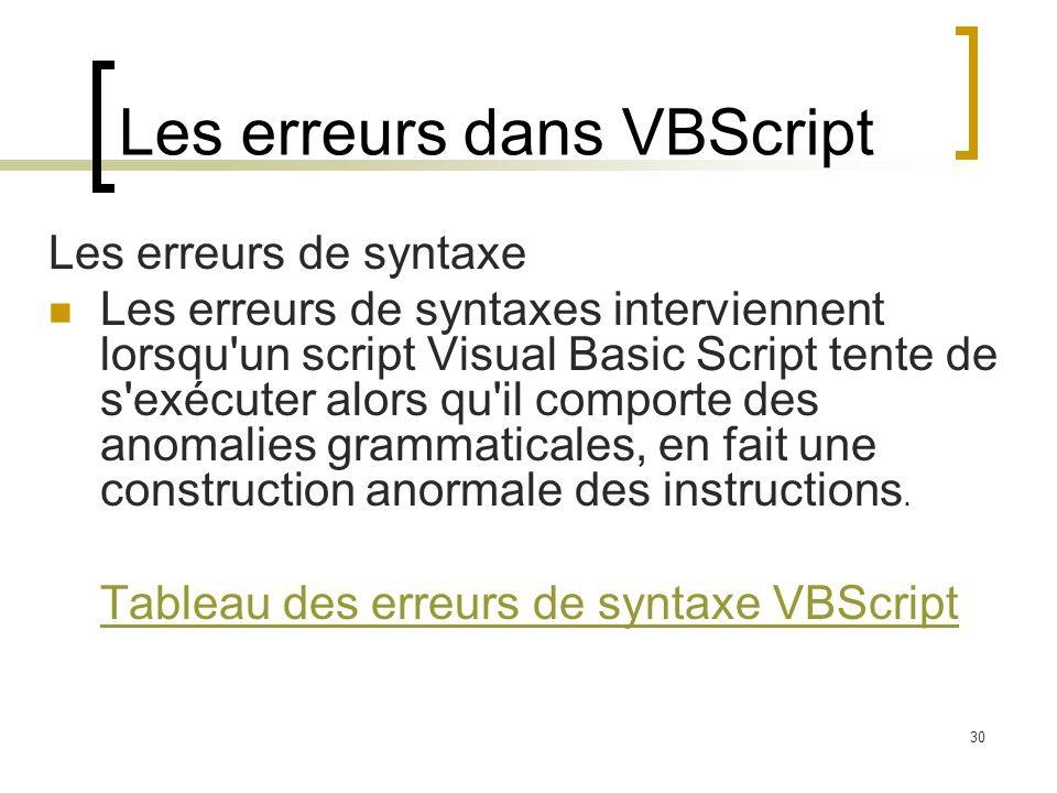 30 Les erreurs dans VBScript Les erreurs de syntaxe Les erreurs de syntaxes interviennent lorsqu un script Visual Basic Script tente de s exécuter alors qu il comporte des anomalies grammaticales, en fait une construction anormale des instructions.