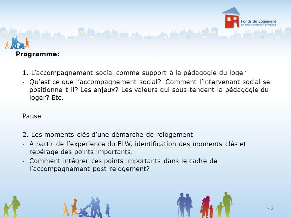 Programme: 1. Laccompagnement social comme support à la pédagogie du loger - Quest ce que laccompagnement social? Comment lintervenant social se posit