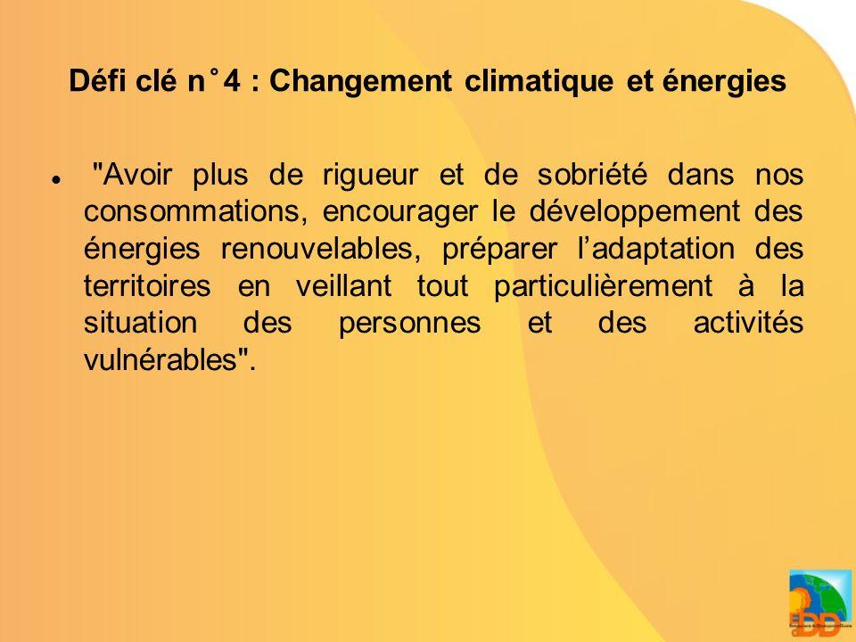 Défi clé n°5 : Transport et mobilité durables Favoriser le report modal, la complémentarité et les transports les moins polluants, en sattachant à réduire les déplacements contraints.