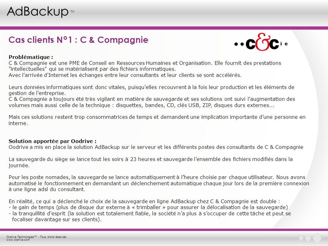 Oodrive Technologies - Tous droits réservés www.oodrive.com AdBackup TM Cas clients N°1 : C & Compagnie Problématique : C & Compagnie est une PME de C
