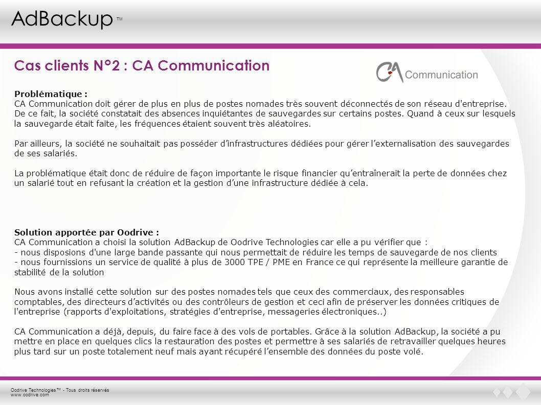 Oodrive Technologies - Tous droits réservés www.oodrive.com AdBackup TM Cas clients N°2 : CA Communication Problématique : CA Communication doit gérer