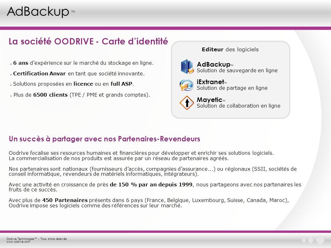 Oodrive Technologies - Tous droits réservés www.oodrive.com AdBackup TM La société OODRIVE - Carte didentité Un succès à partager avec nos Partenaires