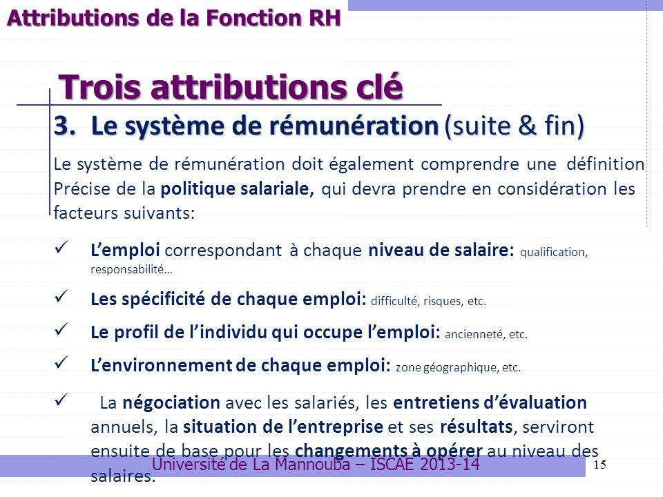 15 3.Le système de rémunération (suite & fin) Le système de rémunération doit également comprendre une définition Précise de la politique salariale, q