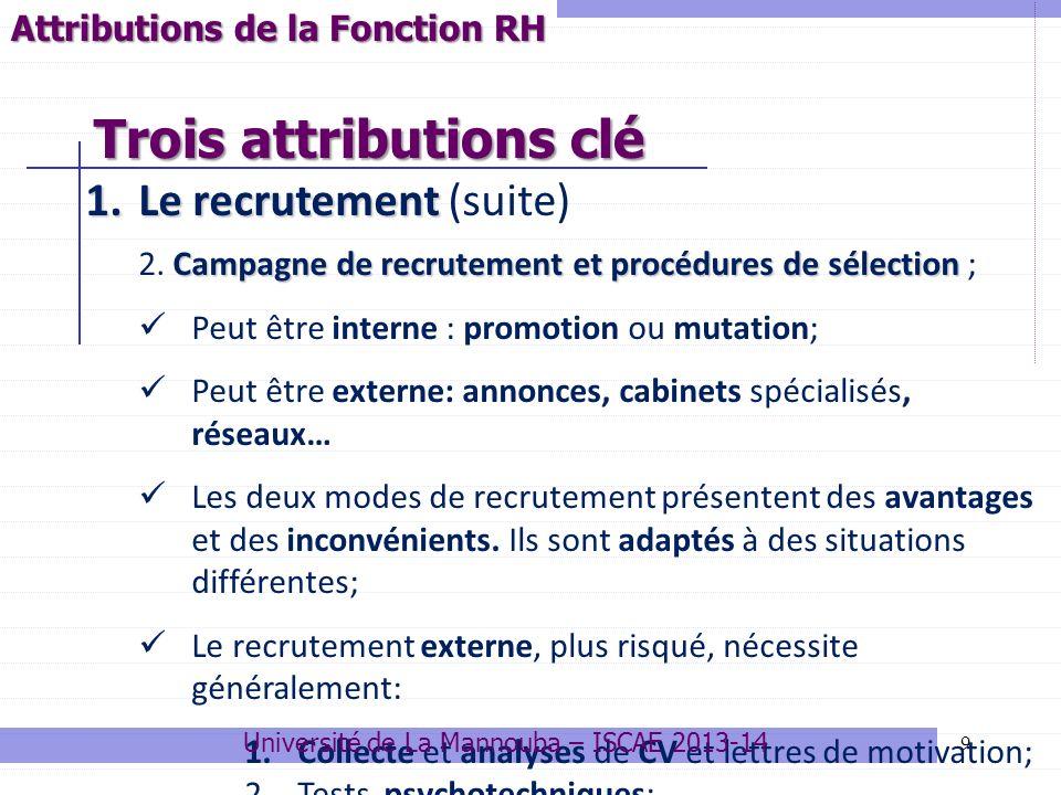 9 1.Le recrutement 1.Le recrutement (suite) Campagne de recrutement et procédures de sélection 2. Campagne de recrutement et procédures de sélection ;