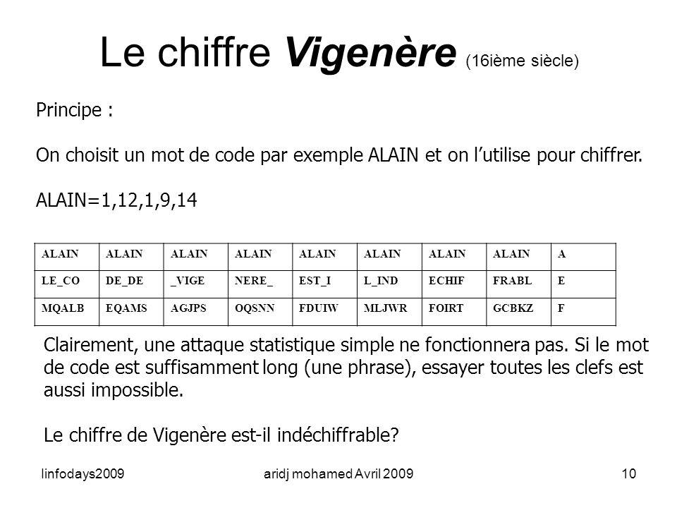 Iinfodays2009aridj mohamed Avril 200910 Le chiffre Vigenère (16ième siècle) Principe : On choisit un mot de code par exemple ALAIN et on lutilise pour