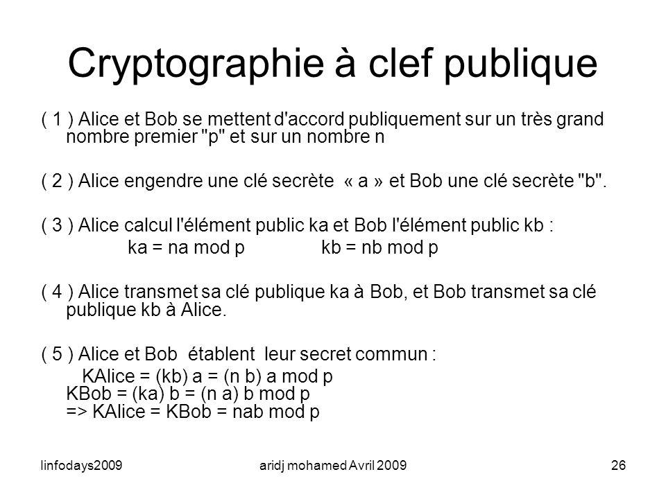 Iinfodays2009aridj mohamed Avril 200926 Cryptographie à clef publique ( 1 ) Alice et Bob se mettent d'accord publiquement sur un très grand nombre pre