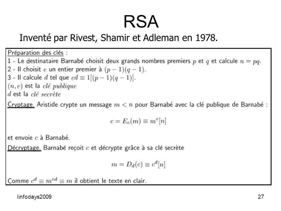 Iinfodays200927 RSA Inventé par Rivest, Shamir et Adleman en 1978.