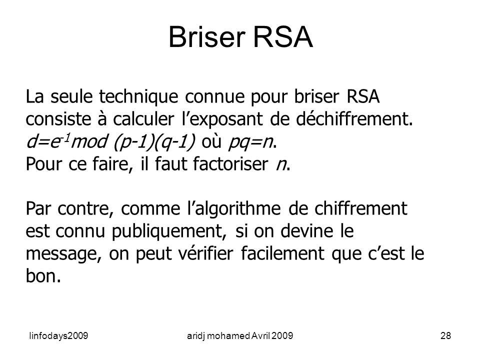 Iinfodays2009aridj mohamed Avril 200928 Briser RSA La seule technique connue pour briser RSA consiste à calculer lexposant de déchiffrement. d=e -1 mo