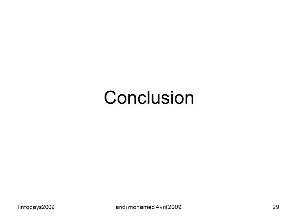 Iinfodays2009aridj mohamed Avril 200929 Conclusion