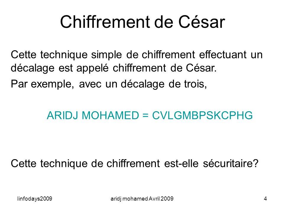 Iinfodays2009aridj mohamed Avril 20094 Chiffrement de César Cette technique simple de chiffrement effectuant un décalage est appelé chiffrement de Cés