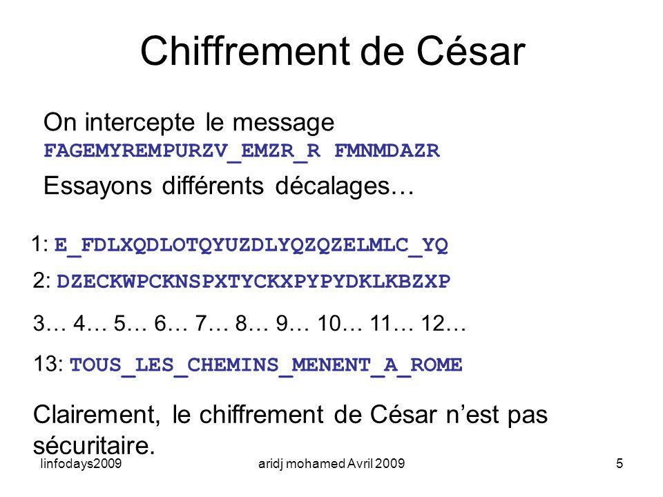 Iinfodays2009aridj mohamed Avril 20095 On intercepte le message FAGEMYREMPURZV_EMZR_R FMNMDAZR Essayons différents décalages… Chiffrement de César 1: