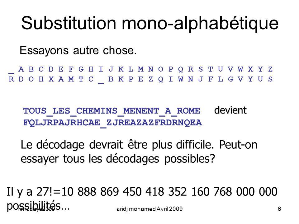 Iinfodays2009aridj mohamed Avril 20096 Substitution mono-alphabétique Essayons autre chose. _ A B C D E F G H I J K L M N O P Q R S T U V W X Y Z R D