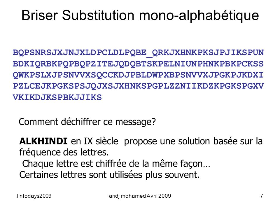 Iinfodays2009aridj mohamed Avril 20097 Briser Substitution mono-alphabétique BQPSNRSJXJNJXLDPCLDLPQBE_QRKJXHNKPKSJPJIKSPUN BDKIQRBKPQPBQPZITEJQDQBTSKP