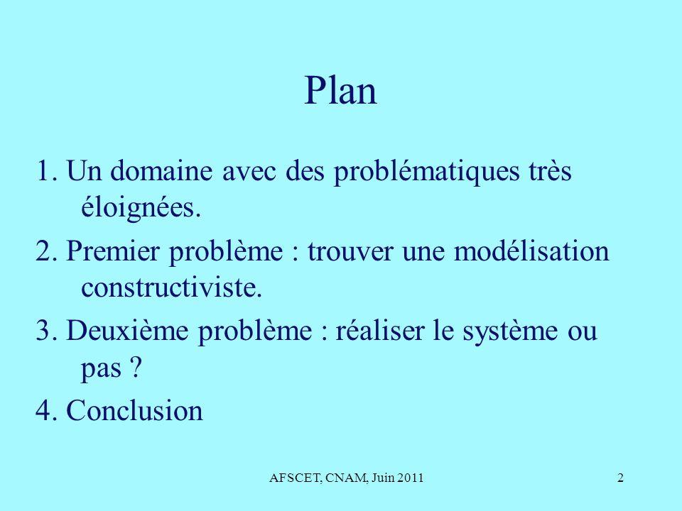 Plan 1. Un domaine avec des problématiques très éloignées. 2. Premier problème : trouver une modélisation constructiviste. 3. Deuxième problème : réal