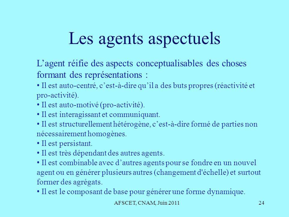 Les agents aspectuels AFSCET, CNAM, Juin 201124 Lagent réifie des aspects conceptualisables des choses formant des représentations : Il est auto-centr