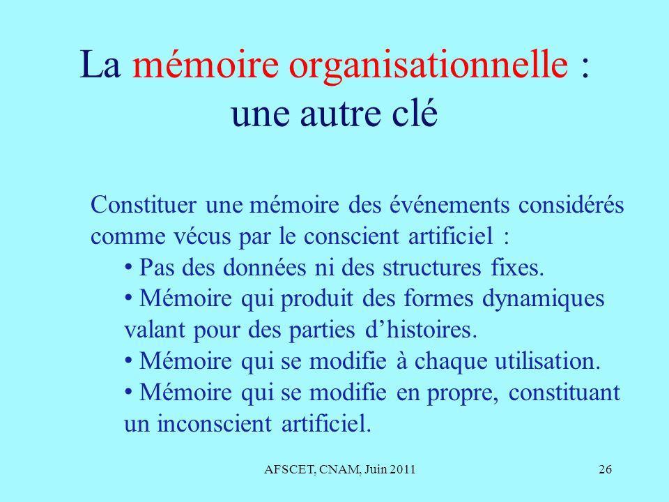 La mémoire organisationnelle : une autre clé AFSCET, CNAM, Juin 201126 Constituer une mémoire des événements considérés comme vécus par le conscient a