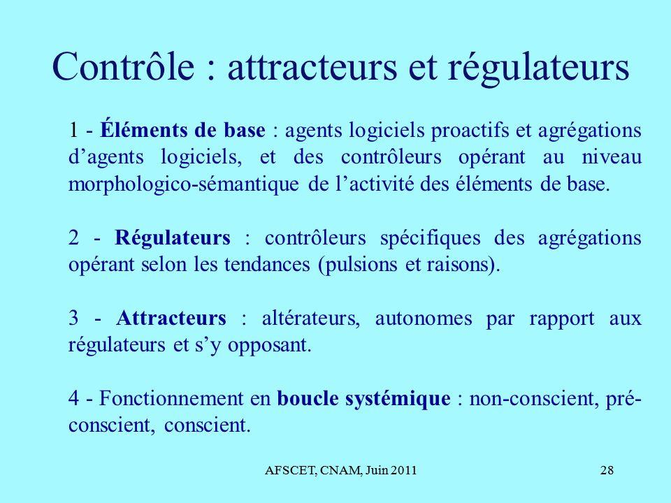 AFSCET, CNAM, Juin 201128 Contrôle : attracteurs et régulateurs AFSCET, CNAM, Juin 201128 1 - Éléments de base : agents logiciels proactifs et agrégat