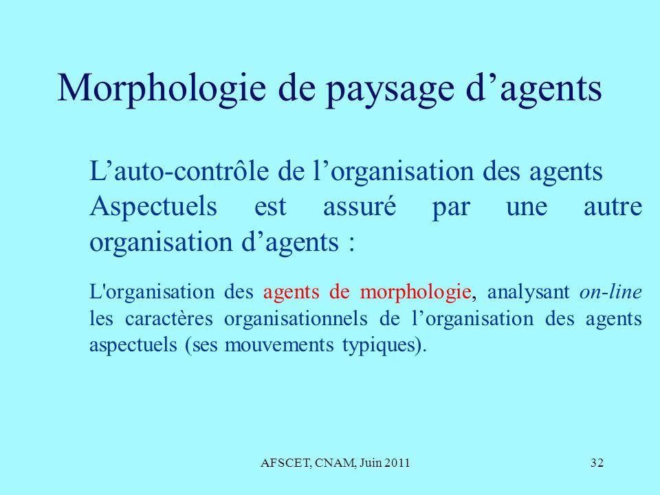 Morphologie de paysage dagents AFSCET, CNAM, Juin 201132 Lauto-contrôle de lorganisation des agents Aspectuels est assuré par une autre organisation d