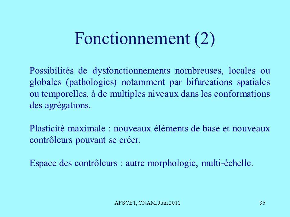 Fonctionnement (2) AFSCET, CNAM, Juin 201136 Possibilités de dysfonctionnements nombreuses, locales ou globales (pathologies) notamment par bifurcatio