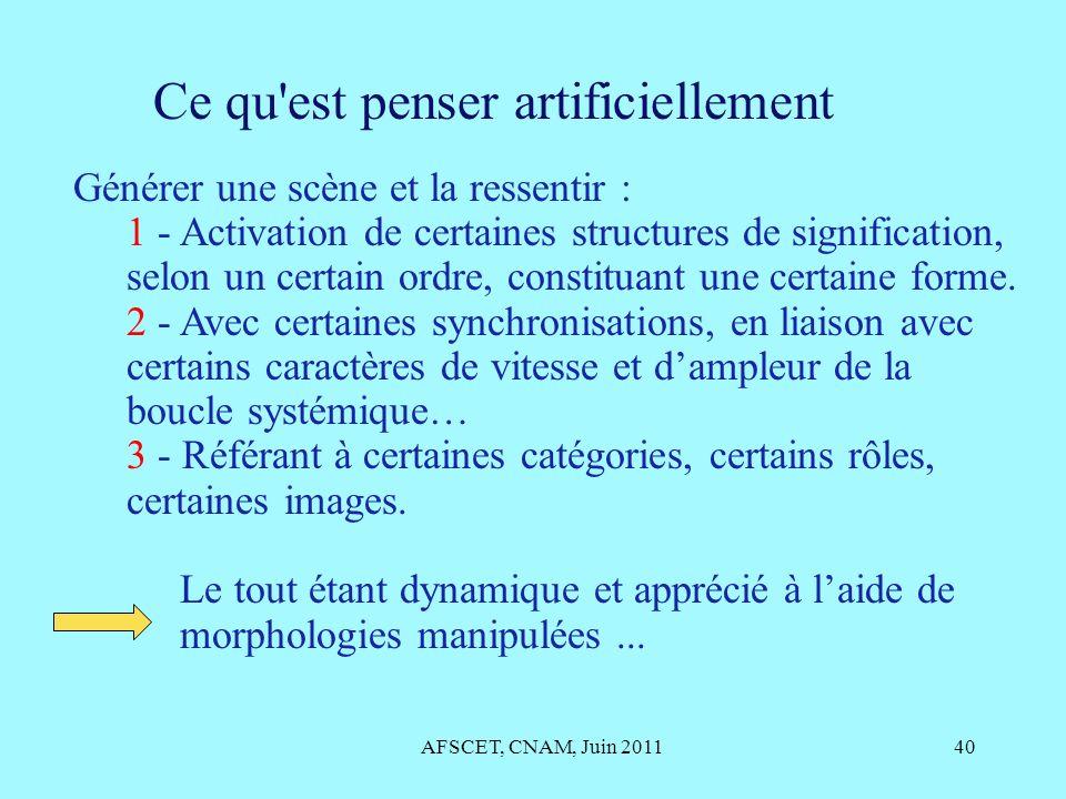 AFSCET, CNAM, Juin 201140 Ce qu'est penser artificiellement Générer une scène et la ressentir : 1 - Activation de certaines structures de significatio