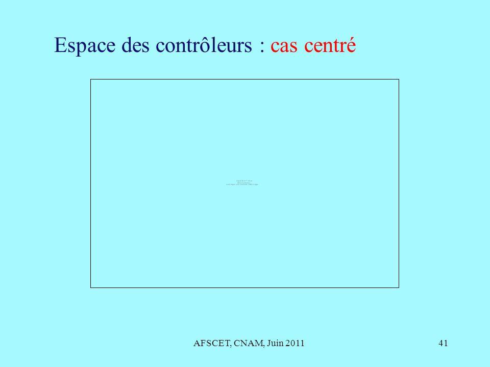 AFSCET, CNAM, Juin 201141 Espace des contrôleurs : cas centré