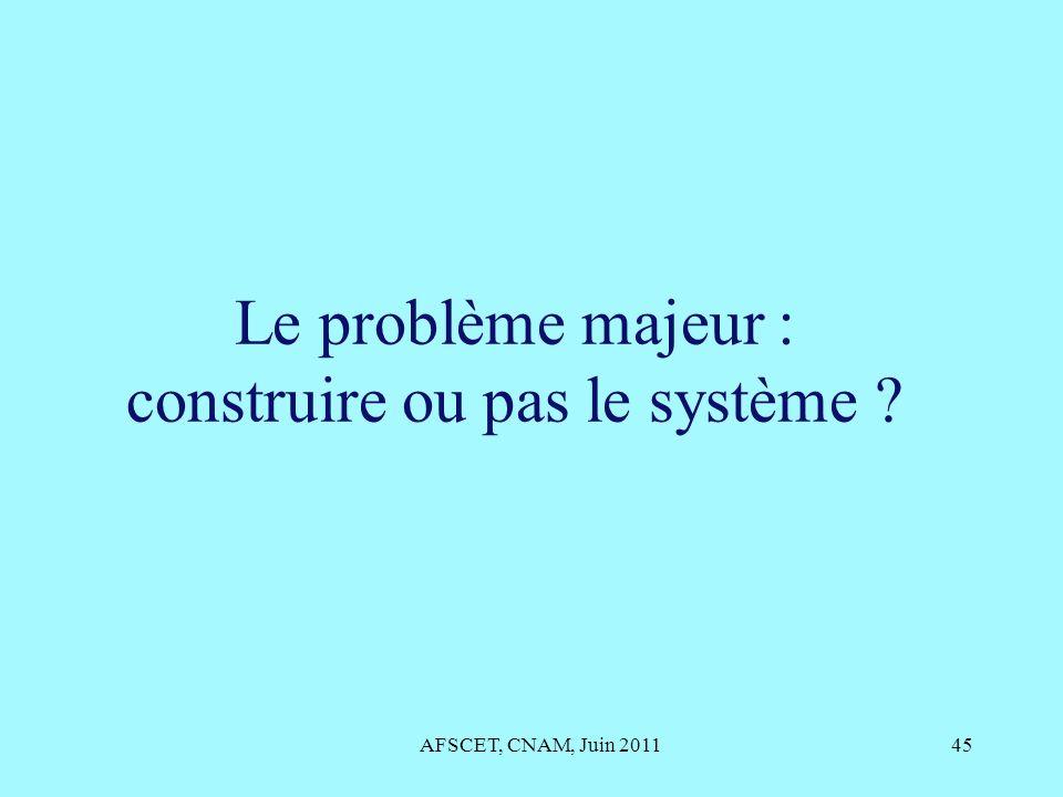 Le problème majeur : construire ou pas le système ? AFSCET, CNAM, Juin 201145