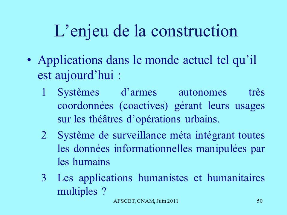 Lenjeu de la construction Applications dans le monde actuel tel quil est aujourdhui : 1Systèmes darmes autonomes très coordonnées (coactives) gérant l
