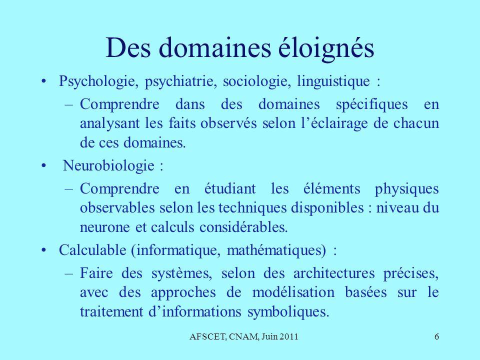 AFSCET, CNAM, Juin 201117 Les éléments majeurs Représenter les trois instances et les émotions : 1 – Un conscient qui éprouve une forme de pensée.