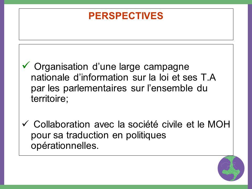 PERSPECTIVES Organisation dune large campagne nationale dinformation sur la loi et ses T.A par les parlementaires sur lensemble du territoire; Collabo