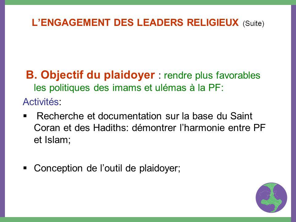 LENGAGEMENT DES LEADERS RELIGIEUX (Suite) B. Objectif du plaidoyer : rendre plus favorables les politiques des imams et ulémas à la PF: Activités: Rec