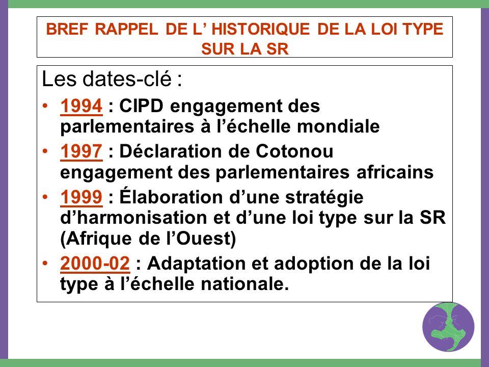 BREF RAPPEL DE L HISTORIQUE DE LA LOI TYPE SUR LA SR Les dates-clé : 1994 : CIPD engagement des parlementaires à léchelle mondiale 1997 : Déclaration