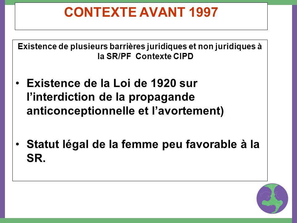 CONTEXTE AVANT 1997 Existence de plusieurs barrières juridiques et non juridiques à la SR/PF Contexte CIPD Existence de la Loi de 1920 sur linterdicti