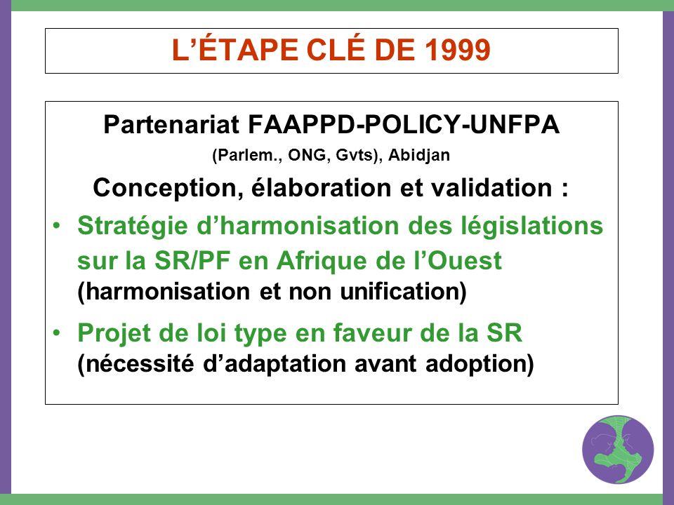 LÉTAPE CLÉ DE 1999 Partenariat FAAPPD-POLICY-UNFPA (Parlem., ONG, Gvts), Abidjan Conception, élaboration et validation : Stratégie dharmonisation des